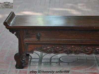 """22""""  China Huanghuali Wood Carved Ruyi Drawer Lockers cabinet table desk Statue 2"""