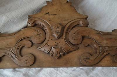Antique French solid wooden pediment or fronton 2