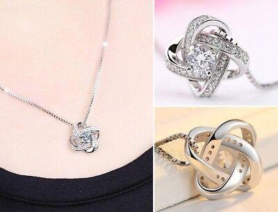 925 Sterling Silver Swirl Pendant Chain Necklace Stud Earrings Womens Jewellery 5