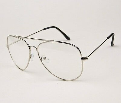 LARGE ROCK STAR Big Aviator Frames Fashion Clear Lens Eyeglasses ...