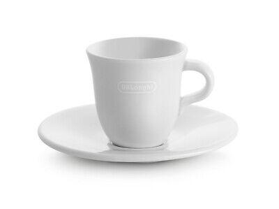 Delonghi 2x Tasses Café 70ml By Tognana Porcelaine Céramique Bianca + Soucoupes 2