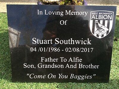 Memorial Grave Plaque Stone Engraved  Headstone Large  Black Granite 40x30cm 6