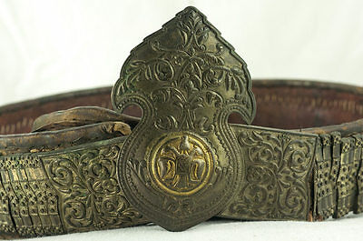 Amazing Silver & Gold Leather Ottoman Folk Belt Tile Buckle Antique Greek Balkan 12