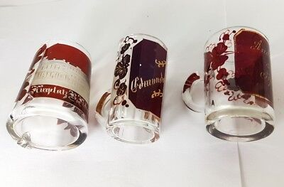 3 Krüge/ Henkel- Becher, Glas gebeizt, um 1900 AL370 2