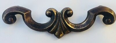 "MCM French Provincial Brass Art Deco Antique Hardware Drawer Pull 5""center"