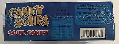 906183 540g BOX OF 36 CANDY SOURS - SOUR CANDY! - STRAWBERRY & GRAPE FLAVOURED!