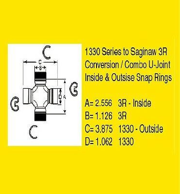 U-JOINT,CONVERSION KIT - Combo,1330 (354) to 3R (534G) GM to Ford (MOOG 355)