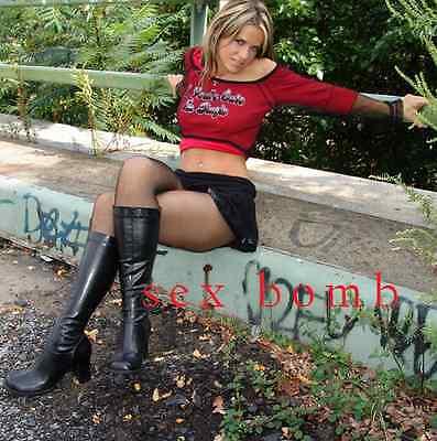 SEXY stivali nero zip cerniera TACCO 7,5 CM DAL numero 35 AL 46 Fashion GLAMOUR 10
