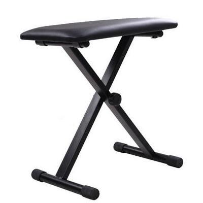Portable Piano Stool Adjustable 3 Way Folding Keyboard Seat Bench Chair Black 2
