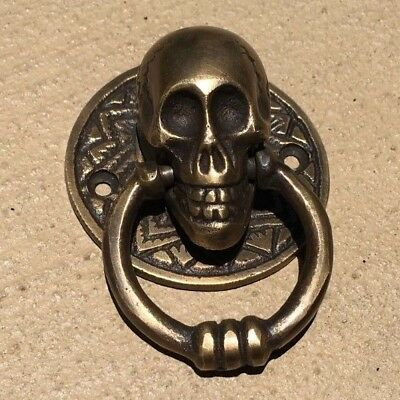 "2 small SKULL head handle DOOR PULL ring natural cast BRASS old style 5 cm 2"" 5"