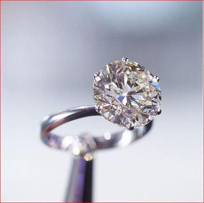 3Ct White Round Cut Moissanite Diamond Solitaire Engagement Ring 14K White Gold 2
