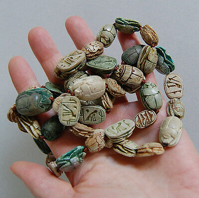 Long Antique EGYPTIAN SCARAB NECKLACE  (47 Scarabs) - Faience             (4B18) 2