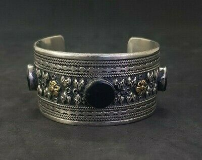 Silver plated And Brass Afghani Bangle With Black Agate Stone #761 2