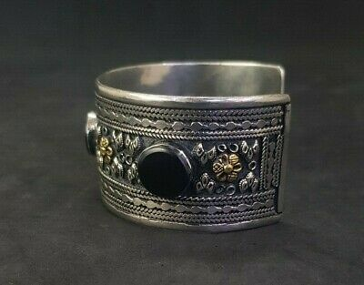 Silver plated And Brass Afghani Bangle With Black Agate Stone #761 5