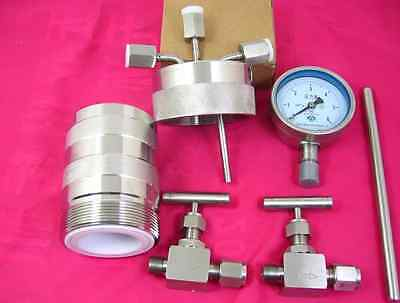 200ml Hydrothermal synthesis Autoclave Reactor vessel + inlet outlet gauge 6MpaJ 2