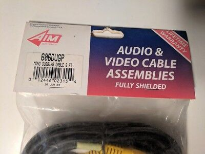 6 FT AIM Electronics 2 RCA Composite Male to Male Audio Video AV Cable VCR DVD 2