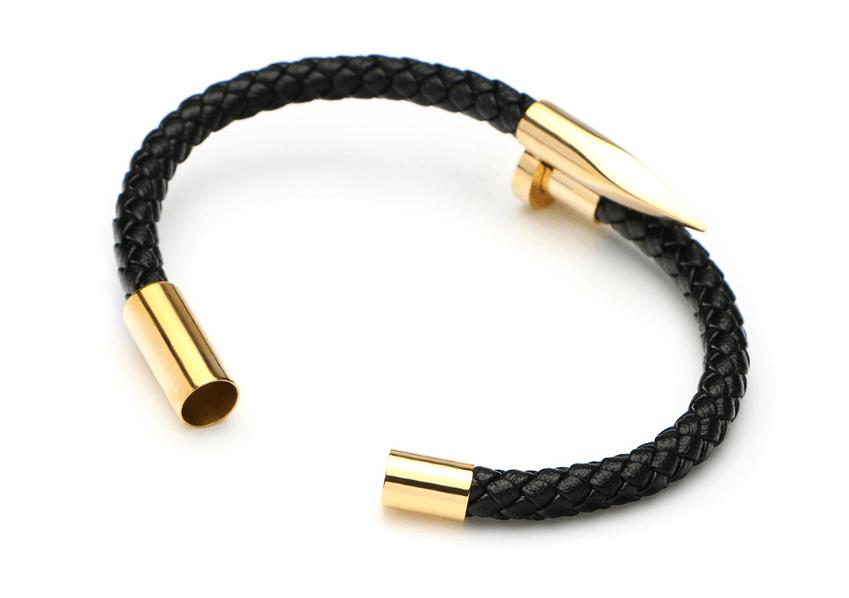 "8"" Mens Womens Stainless Steel Nail Bangle Black Braided Leather Bracelet + Box 4"