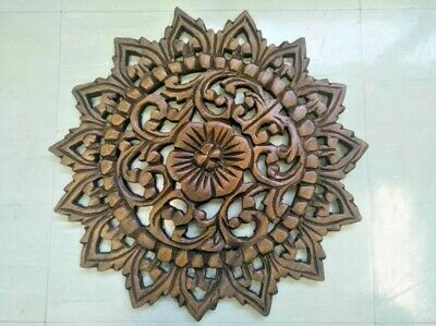 "12"" Vintage Carved Wood Wall Decor Panel Flowers Wall Art Beautiful Gift #2 2"