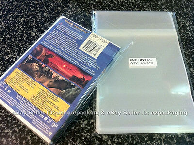100 Clear Standard DVD case Plastic OPP / CELLO Bags non shrink 6x8