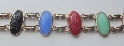 Antique Egyptian Revival Hand Carved Natural Stone Scarabs Double Row Bracelet 2