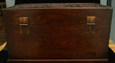 """16"""" China old Huang Huali Wood carving Dragon Beast Storage Jewelry Box Statue 8"""