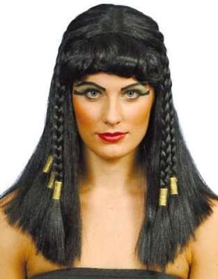 Noir Cléopâtre Égyptien Princesse Perruque Tresses Adulte Femme Costume Robe Fantaisie
