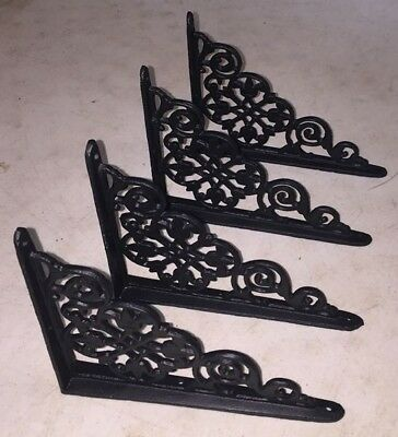 SET OF 4 VICTORIAN FLORAL PATTERN BRACKETS Antique Styled cast iron braces BLACK 7