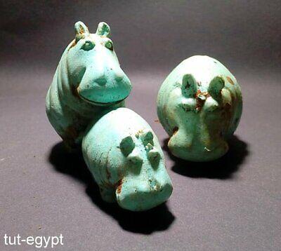 3 Rare Art Egyptian Hippo Hippopotamus Statue Figurine Egypt Sculpture unique 3