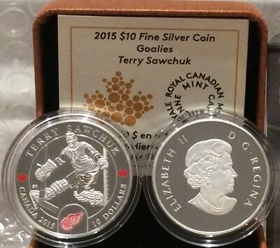 Terry Sawchuk $10 2015 Silver Proof Coin Canada, NHL Goalies, Detroit Redwings 2