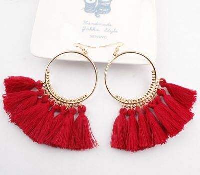 Fashion Women Bohemian Ethnic Tassel Dangle Hook Drop Boho Earring Jewelry AU 9
