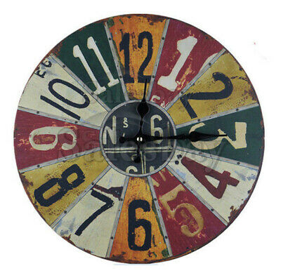 Large Metal and Wooden Industrial French Provincial Antique Round Wall Clock 8