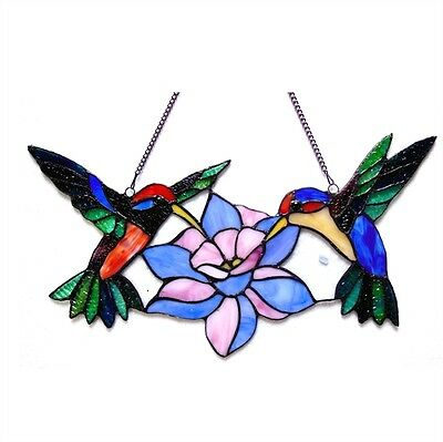 LAST ONE THIS PRICE  Tiffany Style Stained Glass Window Panel Hummingbirds 2