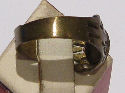 VINTAGE NICE BRONZE RING WITH RED STONE FROM THE EARLY 20th CENTURY # 66A 4