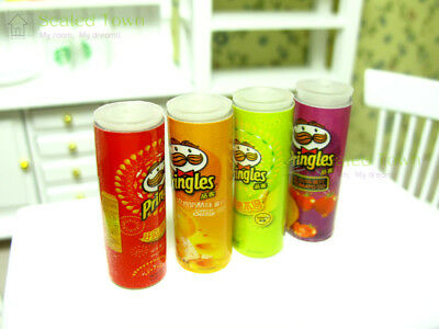 4pcs Dollhouse Miniature Chips Potato Food Grocery Snack Jars Accessory Re-ment 6