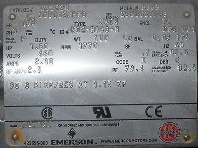 EMERSON U.S. MOTORS C/N A32S2C; M/N BG63 Frame 184 1.5 HP ELECTRIC MOTOR, NNB