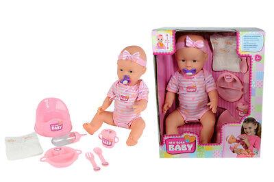 New Born Baby mit Trink- und Nässfunktion 43 cm Puppe Babypuppe mit Zubehör