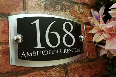 Contemporary House Signs Plaques Door Numbers 1 - 999 Personalised Name Plate 9