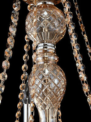 Antique European Italian French CHANDELIER Crystal Silver Champagne 6 Arm Light 6