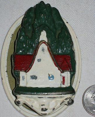Antique Hubley Cast Iron Cottage Tree Lake Cabin Woods Architectural Doorknocker