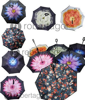 Ombrello  Inverso Reversibile Apertura Al Contrario Rovesciato Anti Pioggia Moda 2