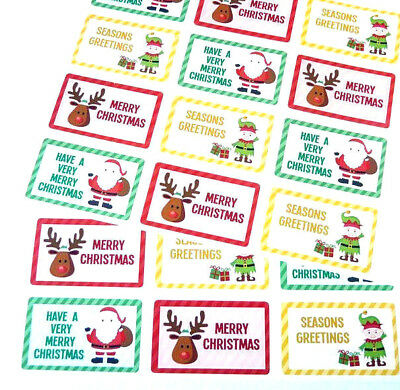 Merry Happy Christmas Stickers Labels for Cards Envelopes /& Festive Craft X50302