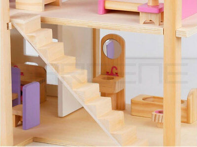 Wooden DIY Dolls Doll House 3 Level Kids Pretend Play Toys Full Furniture Set Pi 7