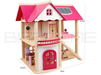 Wooden DIY Dolls Doll House 3 Level Kids Pretend Play Toys Full Furniture Set Pi 8