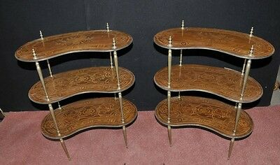 Pair Antique French Empire Shelf Unit Bookcase Kidney Bean Tier 5