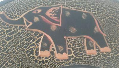 Miroir mural rond éléphants Jaune-orange & noir 40cm Neuf