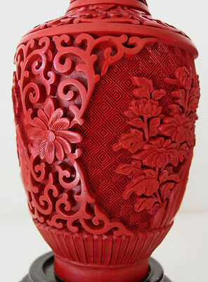 big 20th Pair of Vases - Mirror inverted Original Chinese Cinnabar Lacquer RARE 6