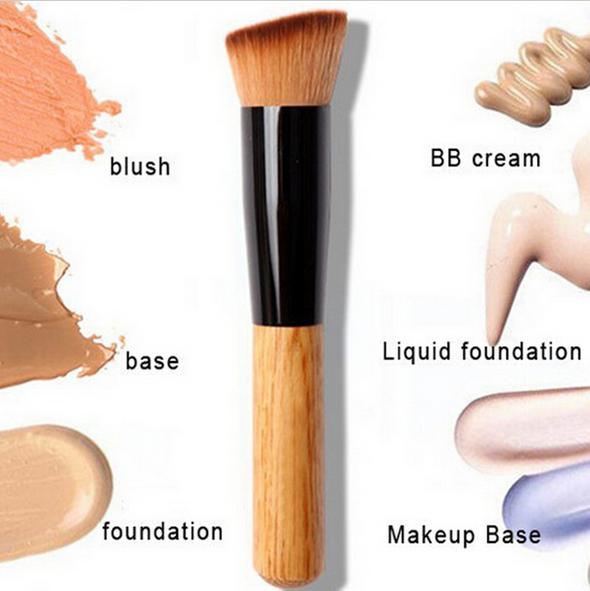 Makeup Brush Flat Angled Wood Liquid Foundation Powder Cream Contour Bronzer Kit