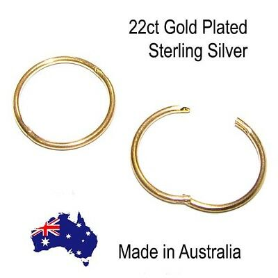 22ct Gold Plated Sterling Silver Sleepers 8mm 10mm 12mm 14mm Aussie made 2