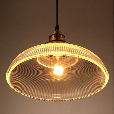 Vintage Industrial Glass Lamp Shade Pendant Ceiling Light Chandelier Fixture Bar 3