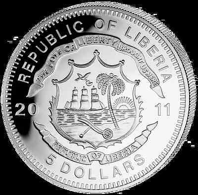 Liberia 2011 $5 History of Railroads - Orient Express Proof Silver Coin